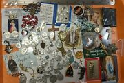 Huge Vintage To Now Lot Religious Medals Items Findings Catholic Cross Saints