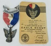 Eagle Scout Boy Scouts Medal Bsa Award Badge 1950and039s Sterling Silver W Card