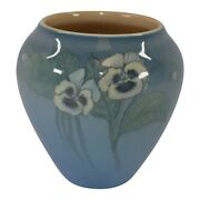 Rookwood Pottery 1924 Blue Porcelain White Pansy Vase 1343 Diers