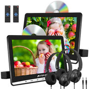 2x10.1 Portable Dvd Player Car Headrest Rear-seat Monitor Tv Av-in/out+headset