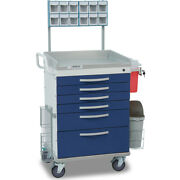 Detecto Wc333369blu-l 6-drawer Whisper Medical Cart Blue With Accessories