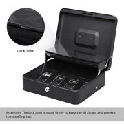 Cash Box With Money Tray Keys Security Lock Box W/ Removable 5 Compartment Black
