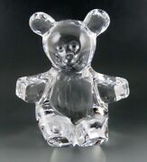 Vintage Daum France Crystal Glass Teddy Bear Paperweight/figurine 7 Signed
