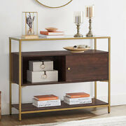 Sideboard Storage Cabinet Brown Buffet Console Table Cupboard Shelves Glass Top