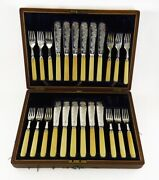 24pc Antique C1895 English Sheffield Silver Plate Fish Fork And Knife Set Orig Box