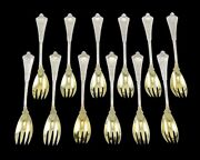 12 Antique Sterling Silver Gold And Co Persian Ice Cream Forks Sporks