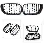 Front Kidney Grille Grill Diamond Mesh Chrome Fit Bmw E46 4 Door 2002-2005 Pair