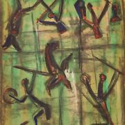 Abstract Painting Framework Mixed Media On Paper Signed 20th Century Modern Art