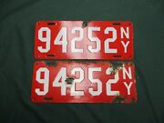 1912 New York Nyc Porcelain Pair License Plates Only One Year For Ny Porcelain