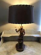Mid Century Figural Hand Carved Wood Blacksmith Table Lamp Faux Leather Shade