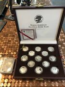 North American Big Game Super Slam Set Of 27 Silver Proof Rounds With Box Coa