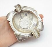 Peru 925 Sterling Silver - Vintage Shiny Etched Lima Square Ash Tray - T2250