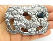 925 Sterling Silver - Vintage Black Onyx Accented Textured Belt Buckle - T1736