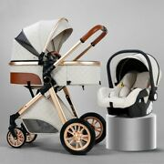 3 In 1 Baby Stroller Luxury Leather Aluminum Frame High Folding Wagon With Pram