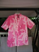 Mens Lily Pulitzer Pink And White Palm Tree Print Button Down Shirt Size L