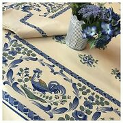 Beauville, Les Coqs Roosters, Blue French, 100 Cotton Tablecloth, 55 X 102