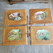 Tv Tray Table Set 4 Solid Oak Wood Hand Painted Card Game Laptop Snack Dinner