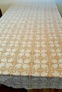 Vintage Lace Tablecloth Hand Crochet Bedspread Coverlet Off White 81 X 103