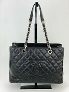 Grand Shopping Tote Gst Caviar Quilted Black Silver Hardware B203