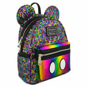 New Disney Parks Loungefly Sequin Mickey Mouse Ears Rainbow Mini Backpack Purse