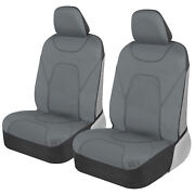 Solid Gray 100 Waterproof Sideless Car Seat Covers - Armrest Compatible