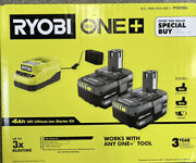 Ryobi One+ 18v Lithium-ion 4.0ah Batteries And Charger Kit Psk006 New