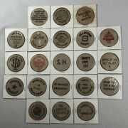 Vintage Wooden Nickels Tokens Dollars Lot Advertising Ice Rink Merry Go Round