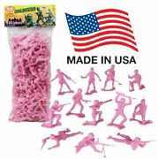 Timmee Plastic Army Men - Pink 100pc Toy Soldier Figures - Made In Usa