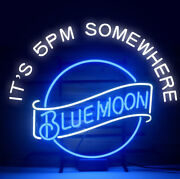 Neon Signs Gift Blue Moon Beer Bar Pub Store Party Room Wall Window Decor 24x20