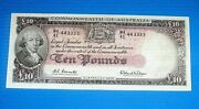 Australia 10 Pound Note 1961 Good Very Fine Condition Interesting Number 443333