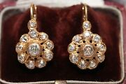 Antique Ottoman 8k Gold Natural Old Cut Diamond Decorated Rose Earring