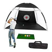 Golf Net Golf Hitting Nets With Target Foldable Training Aids Practice Black