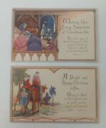 Victorian Antique 1880and039s Christmas Nativity Postcards Vintage Unposted Lot Of 2