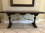 Antique Mahogany Library Table With Wrought Iron Designandnbsp