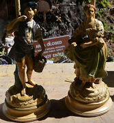 Antique Borghese Figural Lamps French Wine Peasants 1920's