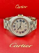 Cle 40mm 2-tone Rose Gold And Steel Menand039s Iced Out 18ct Diamonds Ref 3850