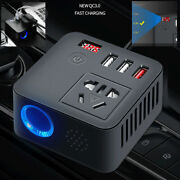 200w Car Auto Power Inverter Dc 12v To Ac 220v Adapter Qc3.0 Usb Socket Charger