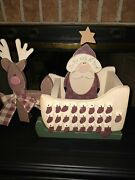 Advent Calendar In The Nick Of Time All Wood Folksy Sleigh W/25 Mini Stockings