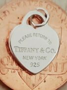 Please Return And Co New York Sterling Silver Heart Tag Pendant Charm Mini