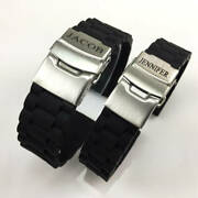 Name Engraved Personalized Rubber Silicone Watch Band Double Locking Buckle 4091