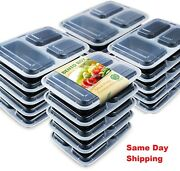 40 Pack 3 Parts Meal Prep Containers 36oz Lids Food Storage Bpa Free/reusable
