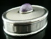 Oval Silver Snuff Box Set With Cabochon C.1900
