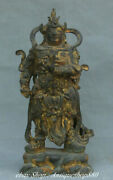12 China Purple Bronze Gilt Station Weituo Warrior Army General Weaponry Statue