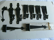 Vintage Colonial Strap Gate Fence Hinges Handle Wrought Iron Black-lot Of 9