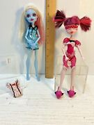 Monster High Lot Of 2 Dead Tired Abbey Bominable And Draculaura Dolls +clothes
