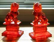 Vintage Pr Carved Chinese Cherry Amber Foo Dogs 7.5 Insect Inclusion Genuine