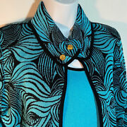 Ming Wang Teal And Black Graphic Jacket And Tank Set Size Small