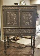 Antique Victorian Heavily Carved Cabinet Bar Secretary On Stand Shields Crests