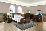Solid Wood Brown Cherry 4pc Bedroom Set Eastern King Size Bed Dresser Mirror Ns