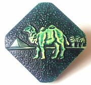 Antique Button…one-piece-30's Green Celluloid Two Humped Camel, Fab Version